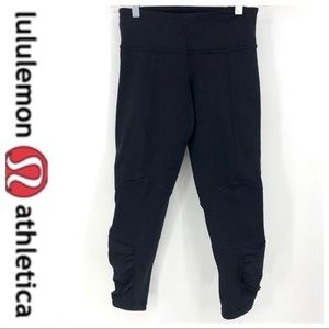 💕SALE💕Lululemon Black Wunder Under Gathered Crop